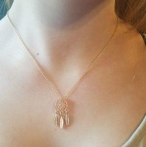 Adorable goldtone boho dream catcher necklace